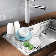 Load image into Gallery viewer, Multifunction Roll Up Dish Drying Rack Folding Wash Drainer Tray Folding Stainless Steel Drain Rack Kitchen Sink Shelf