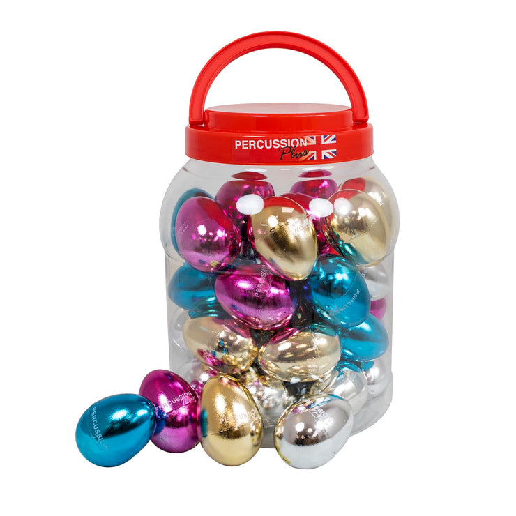 PP3089 - Percussion Plus tub of 40 egg shakers in mixed metallic colours Default title