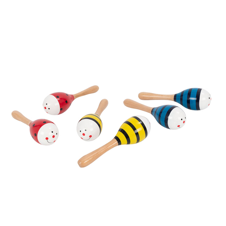 PP3110,PP3111,PP3112 - Percussion Plus wooden bug maracas Red ladybird