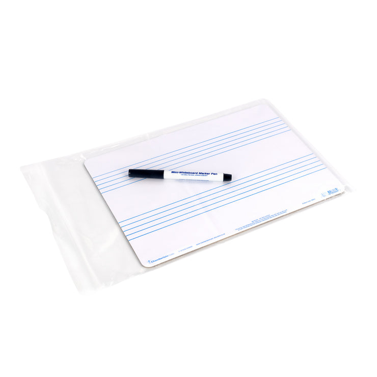 WB05 - Chamberlain Music A4 music whiteboard with 2 pre-printed staves Default title