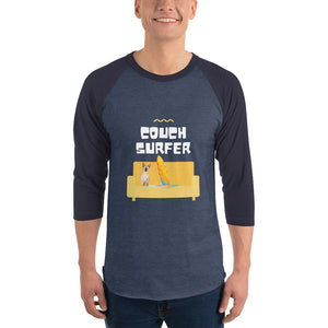 Open image in slideshow, Couch Surfer 3/4 sleeve raglan shirt