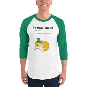 Open image in slideshow, Le-purr-chaun Kitty 3/4 sleeve raglan shirt