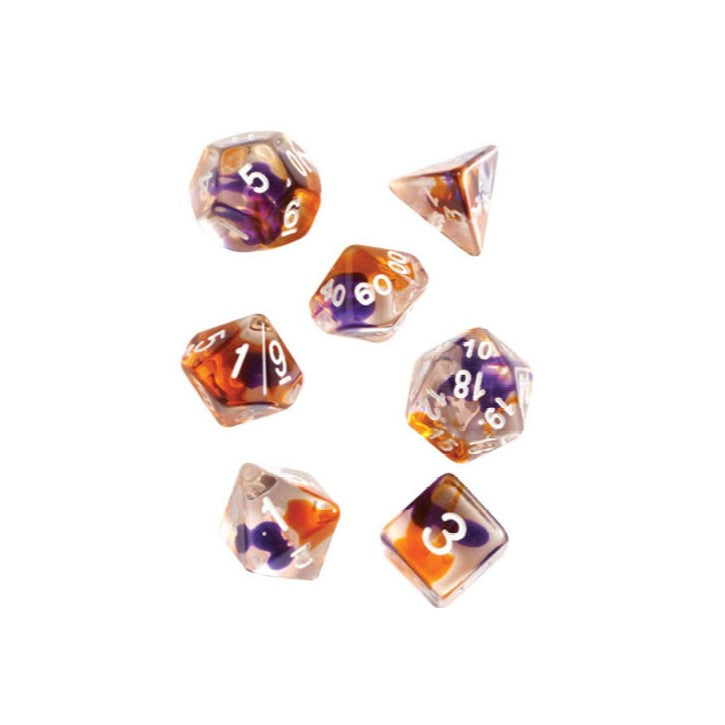Purple, Orange, Clear Polyhedral Dice Set