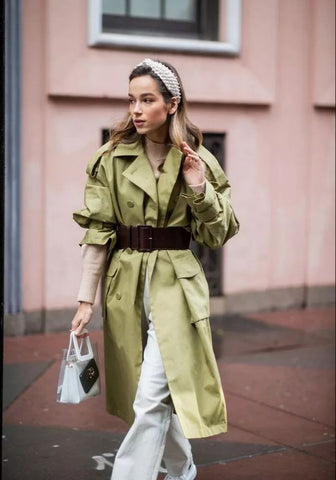trenchcoat with exaggerated belt
