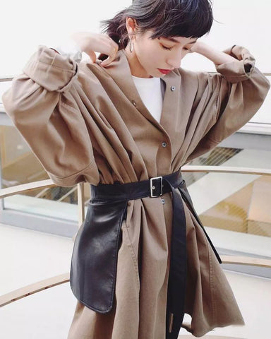 Long coat match with belt