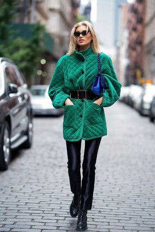 coat with exaggerated belt