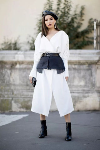 suit shirt skirt with a waistband