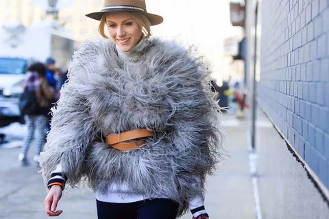 Thick fur coats with a belt