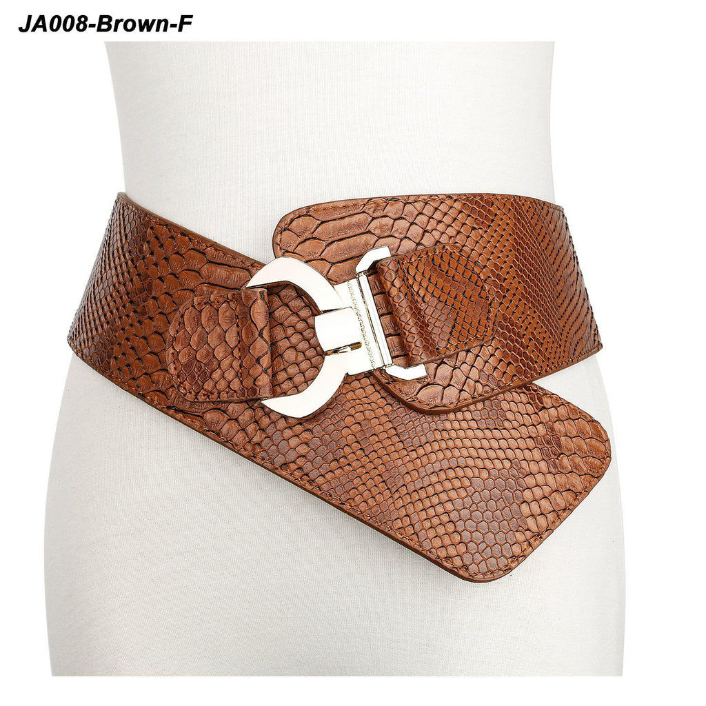 Women's Wide Elastic Stretch Adjustable Waist Belt Fashion Snake Pattern by JASGOOD - JASGOOD-OFFICIAL