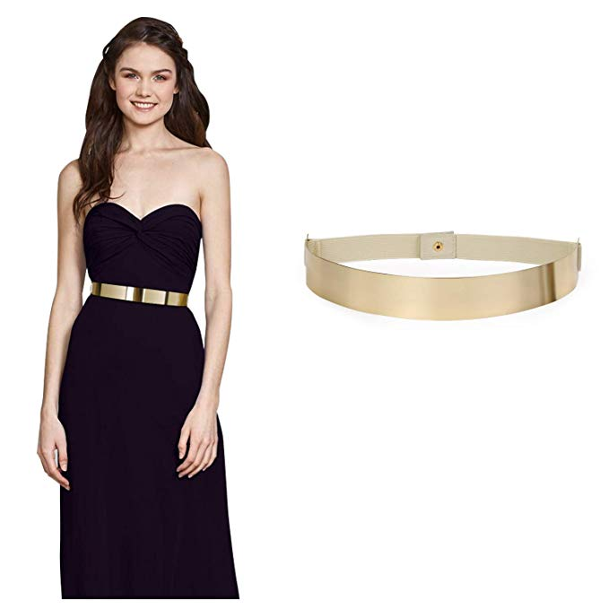 JASGOOD Gold Belts for Women Elastic Metal Plate Waist Belt Fashion Mirror Dress Belt with Snap Button