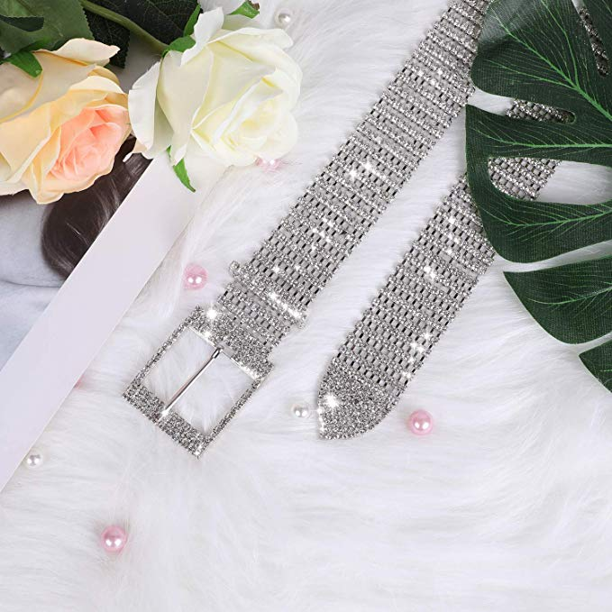JASGOOD Women Crystal Rhinestone Chain Waist Belt Sparkle Waistband Waist Chain for Party Club