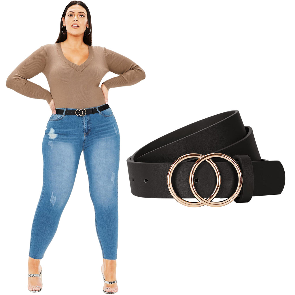 JASGOOD Plus Size Double O Ring Belt for Women Leather Belt,Ladies PU Leather Waist Belts for Jeans Pants - JASGOOD-OFFICIAL