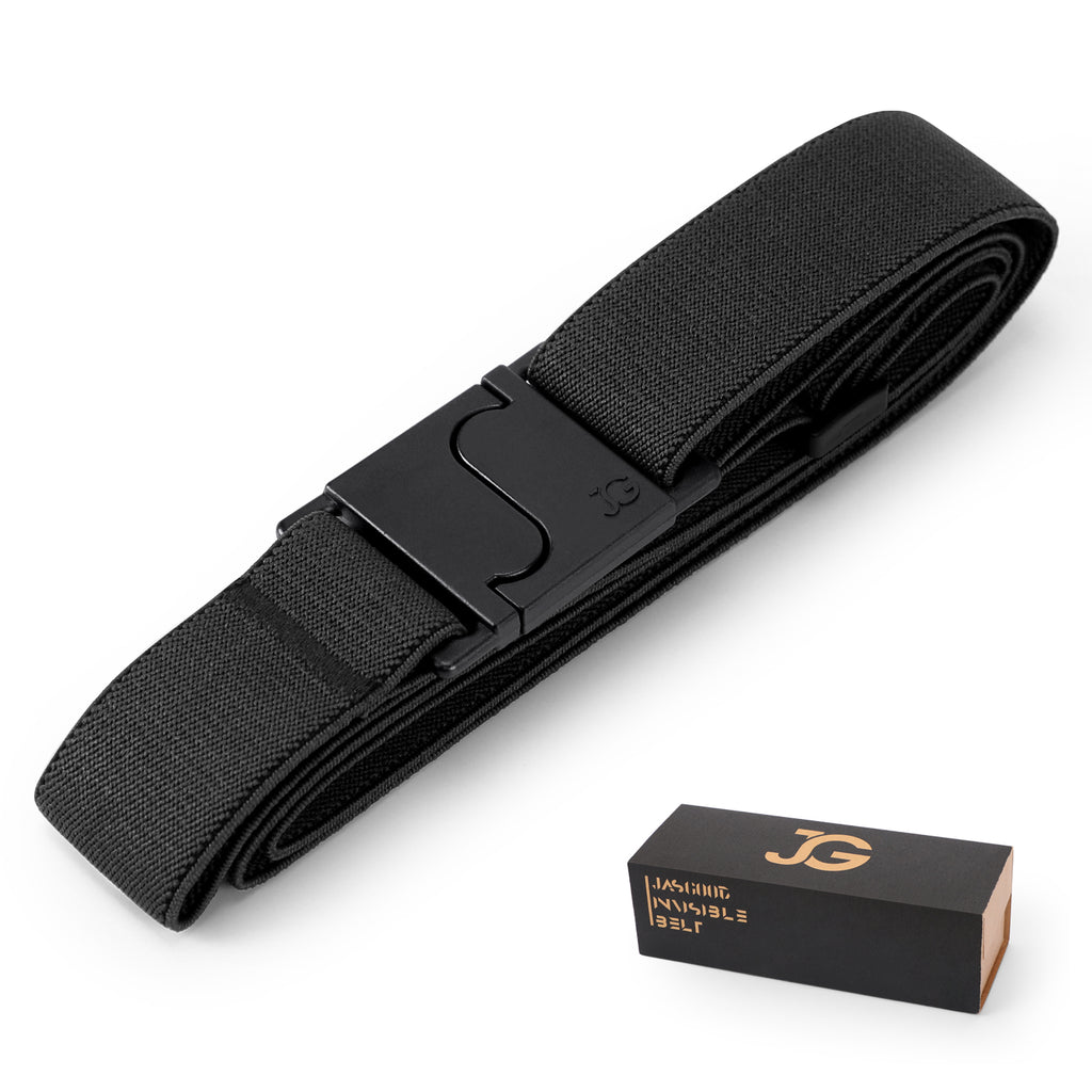 No Show Adjustable Elastic Flat Belt with Patented Buckle for Women Men By JASGOOD