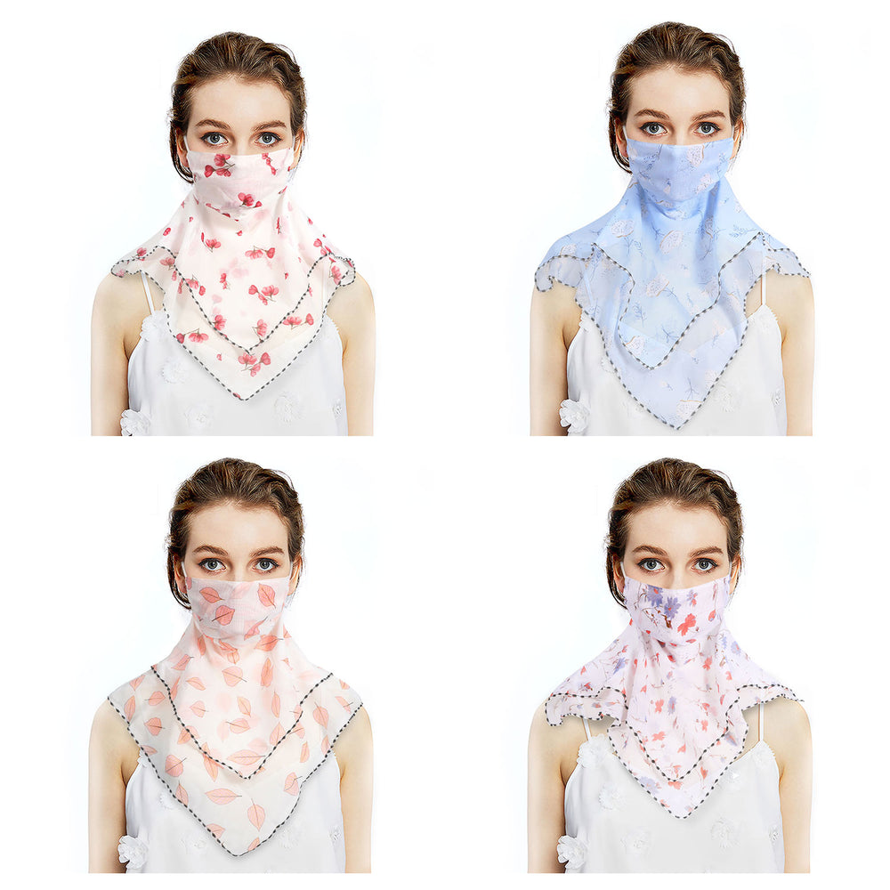 Women Colorful Chiffon Face Cover Scarf for Outdoors & Indoors Protection