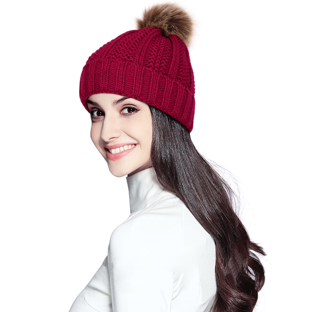 SUOSDEY Womens Trendy Winter Knit Beanie Hat Warm and Soft Skull Ski Cap for Women - JASGOOD-OFFICIAL