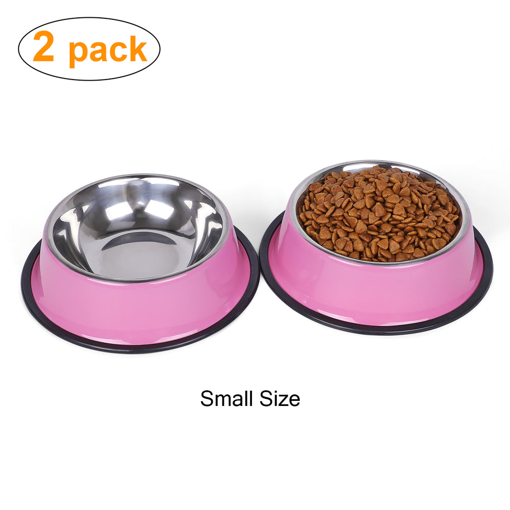 Stainless Steel Dog Bowl for Small/Medium/Large Dog,Cat,Pet-Food/Water Bowls with Rubber Base Reduce Spill Set of 2