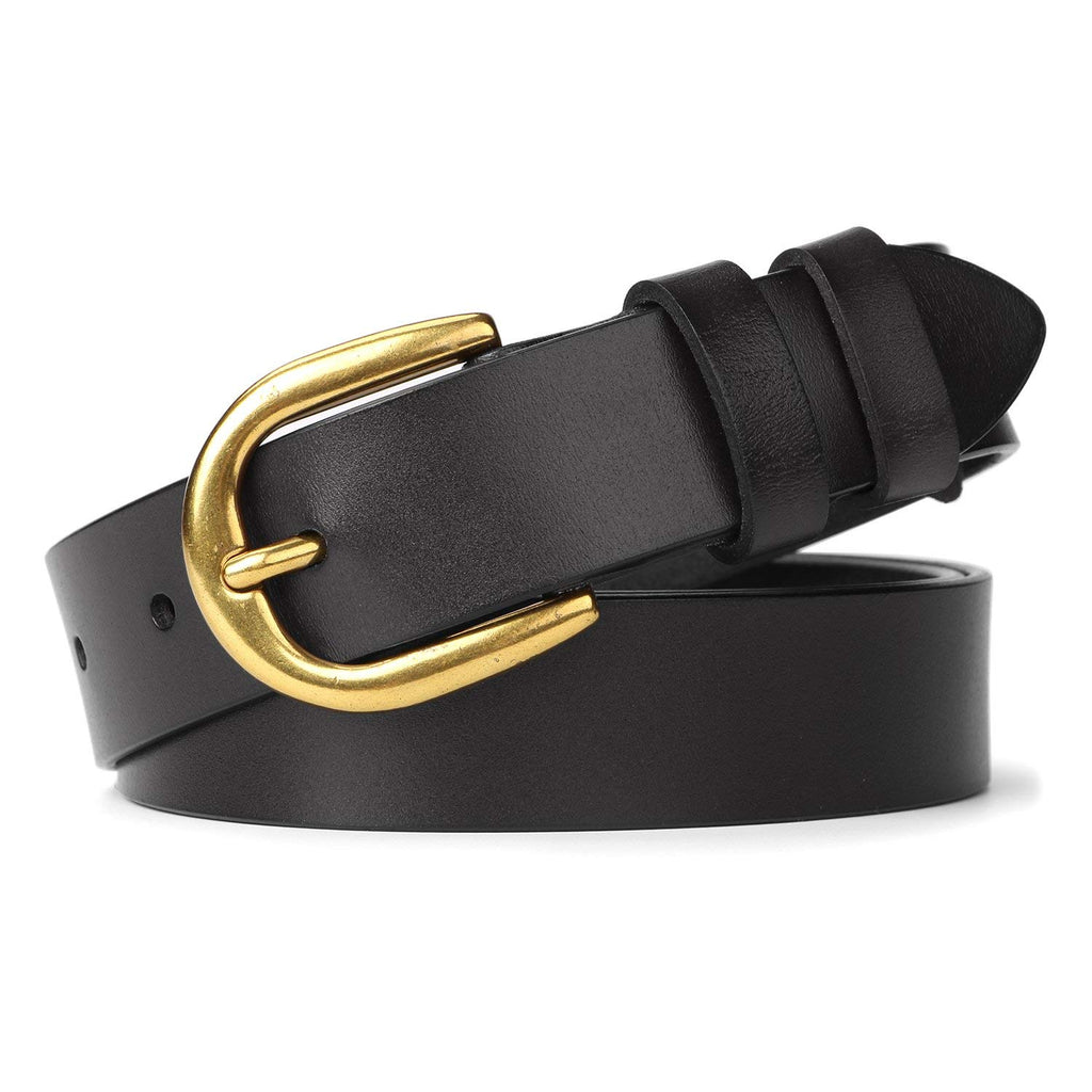 Whippy Women Casual Leather Belt for Jeans, 1.2 Inch Wide with Golden Buckle-JASGOOD OFFICIAL