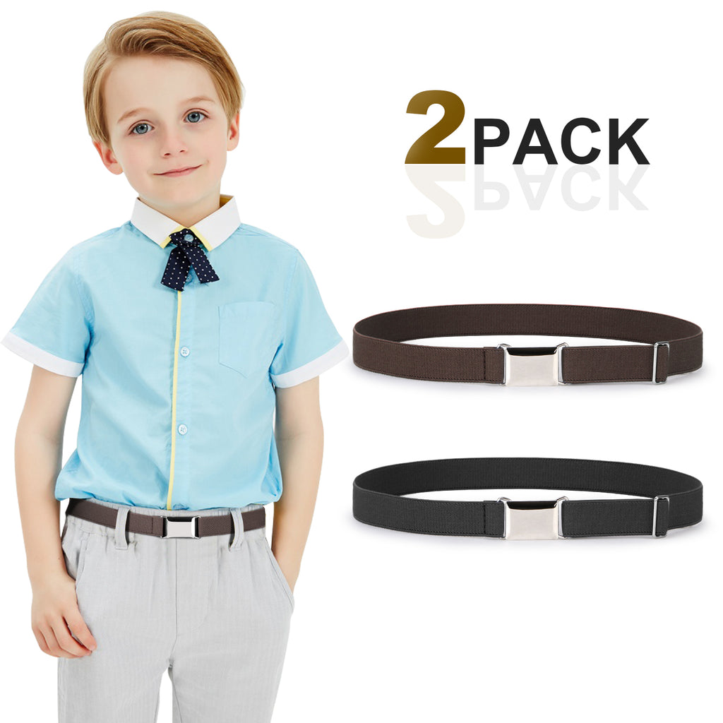 Kids Toddler Belt Made in USA Elastic Adjustable Stretch Boys Belts With Silver Square Buckle
