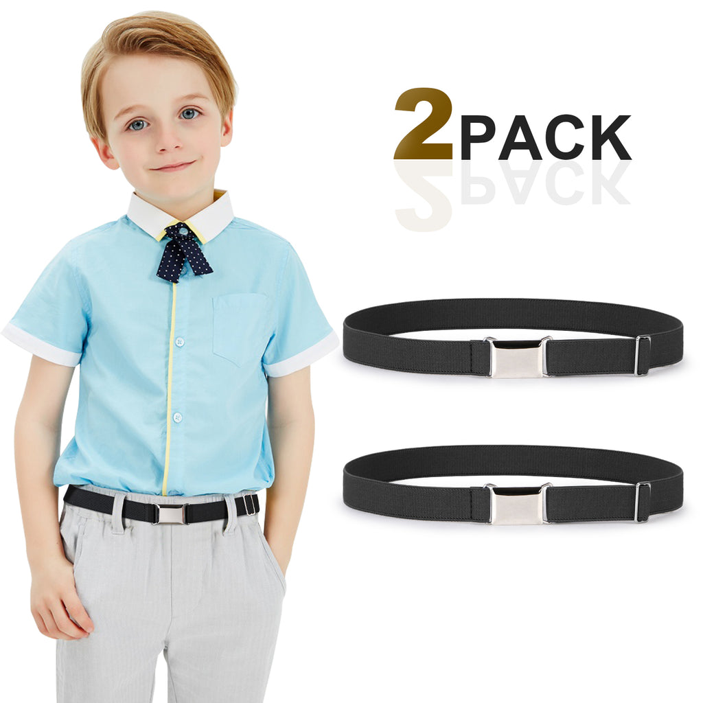 Kids Toddler Belt Made in USA Elastic Adjustable Stretch Boys Belts With Silver Square Buckle - JASGOOD-OFFICIAL