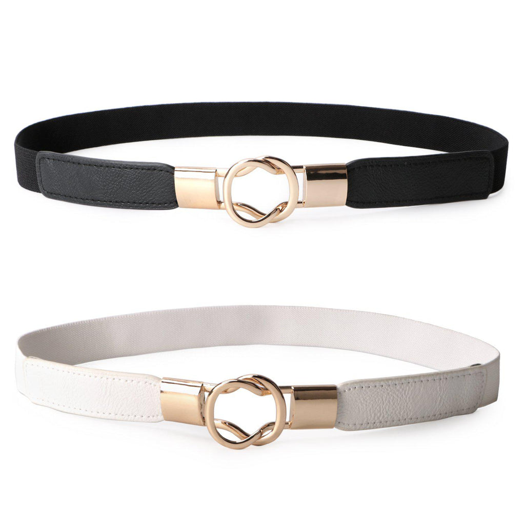 2 Pack Women Retro Elastic Stretchy Metal Buckle Skinny Waist Cinch Belt 1Inch Wide by JASGOOD - JASGOOD-OFFICIAL