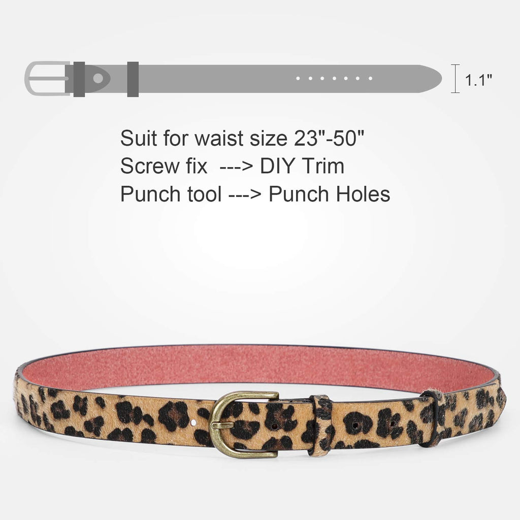 JASGOOD Leopard Print Leather Belt for Women Jeans Pants Waist Belt for Dresses - JASGOOD-OFFICIAL