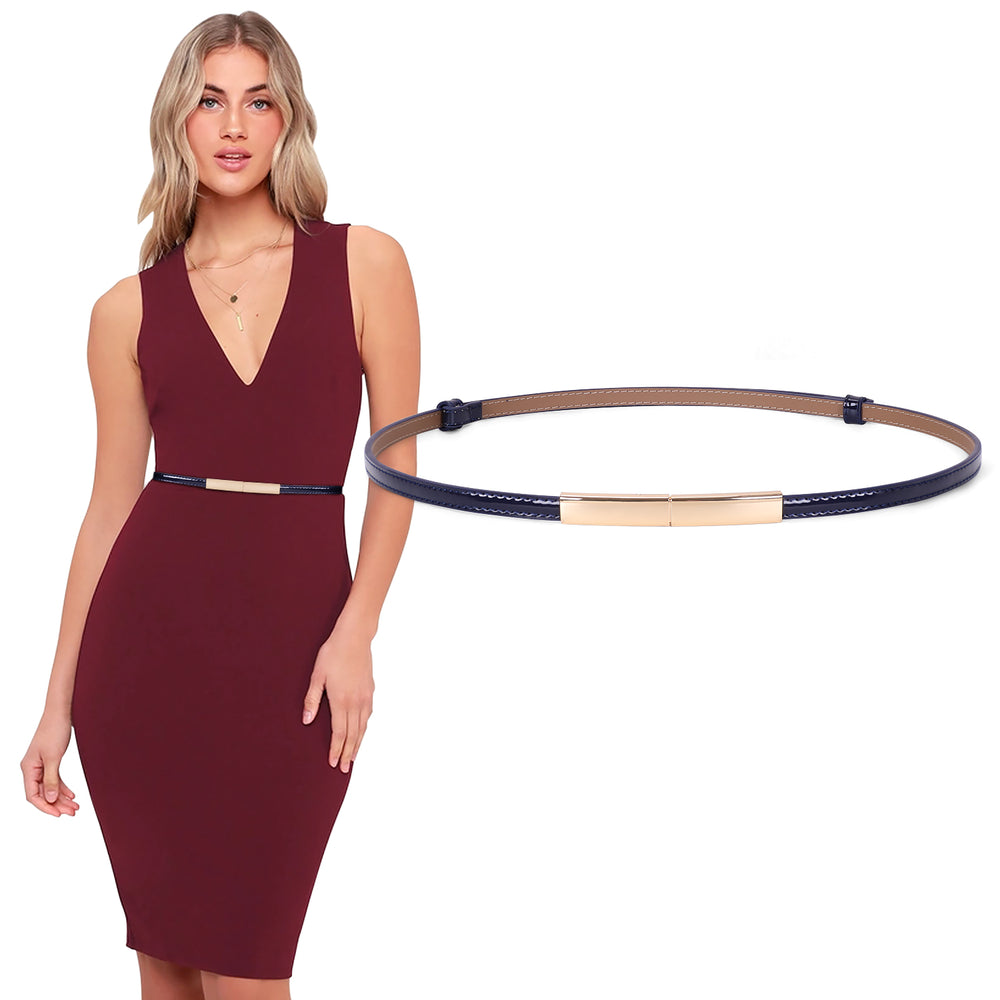 Women's Skinny Blue  Leather Belt Adjustable Slim Waist Belt with Gold Alloy Buckle for Dress By JASGOOD