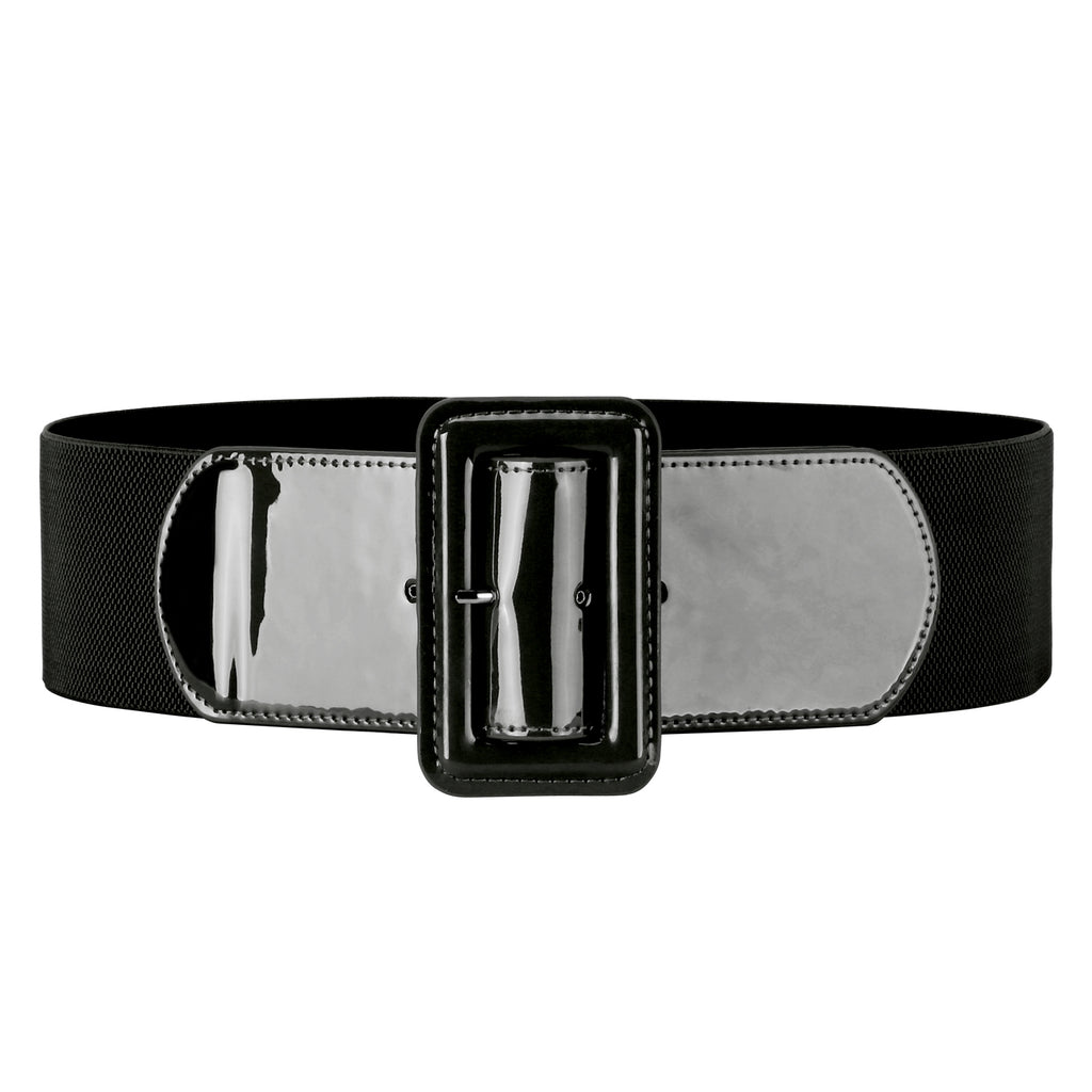 "Women Stretchy Waist Belt Patent Leather 2.95"" Wide Simple Square Buckle by JASGOOD - JASGOOD-OFFICIAL"