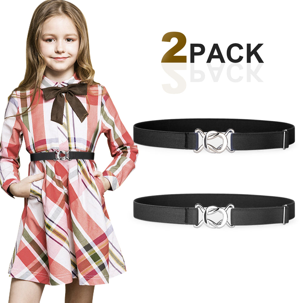 Kids Toddler Belt Elastic Stretch Adjustable Belt For Boys and Girls with Silver Square Buckle 2 Pack-JASGOOD OFFICIAL