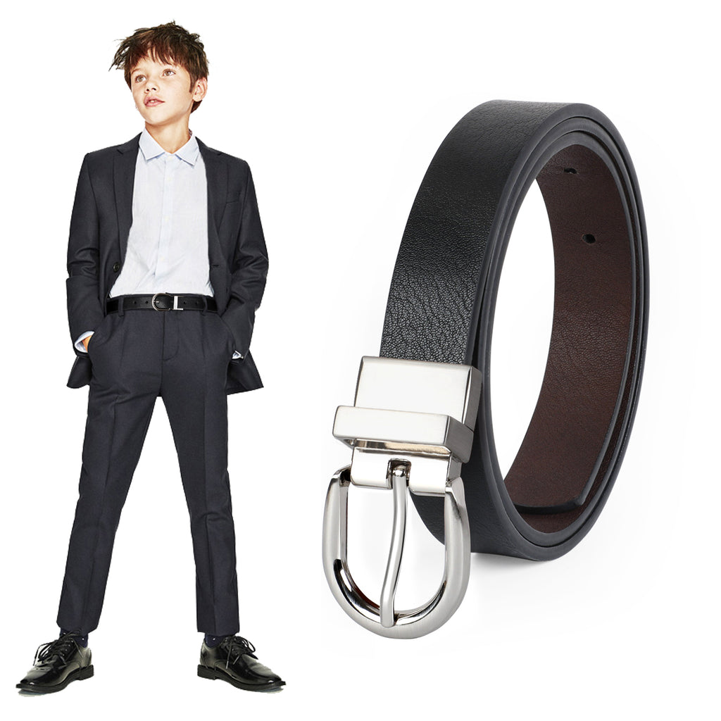 JASGOOD Kids Leather Reversible Belt, Boys Casual Belt for Jeans School Uniform with Rotated Buckle