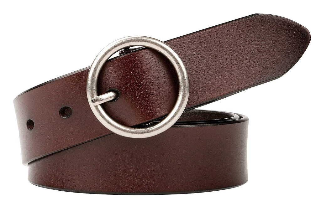 Women Casual Dress Belt Genuine Leather Belt with Round Buckle by JASGOOD