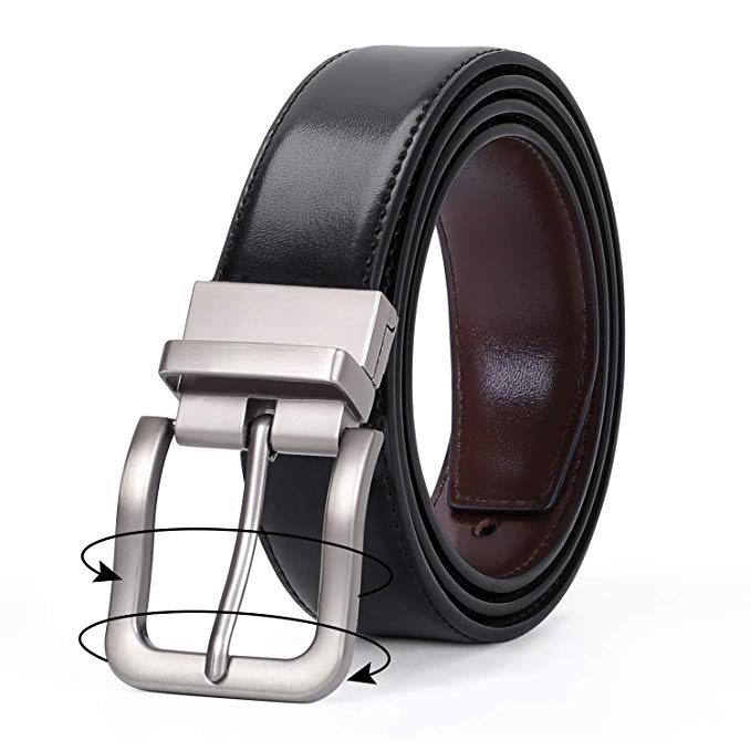 JASGOOD Men Fashion Leather Reversible Belt with Rotate Buckle for Pants Jeans  with Nice Gift Box