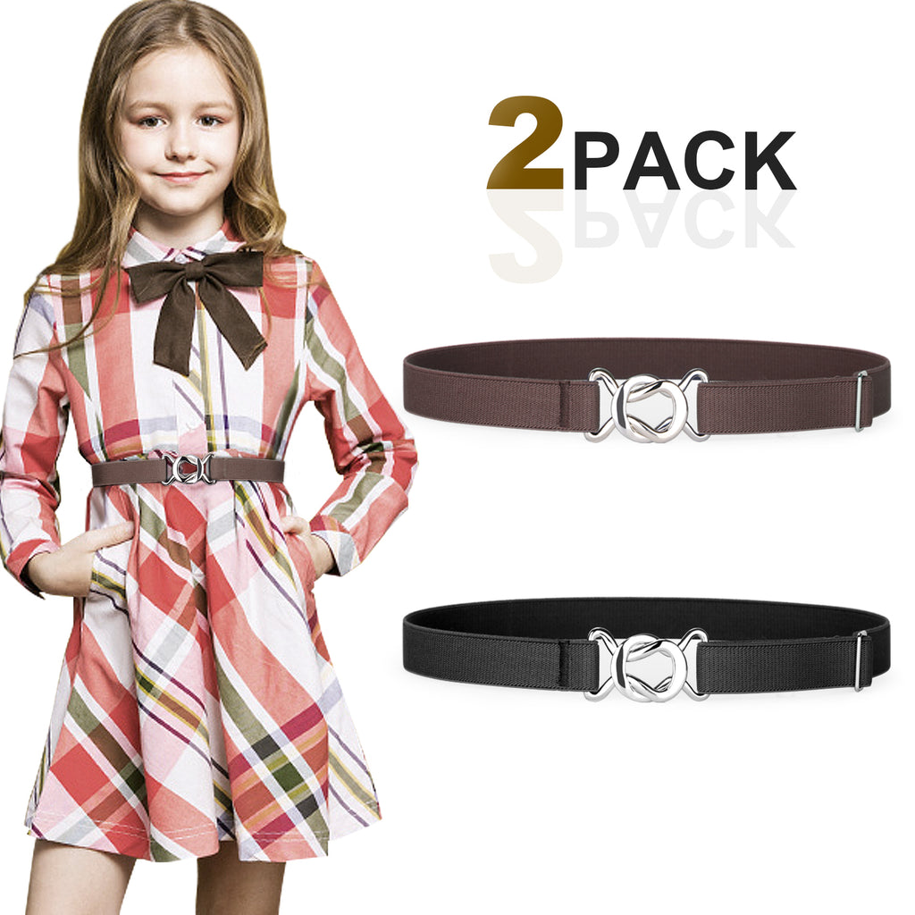 Kids Toddler Belt Elastic Stretch Adjustable Belt For Boys and Girls with Silver Square Buckle 2 Pack