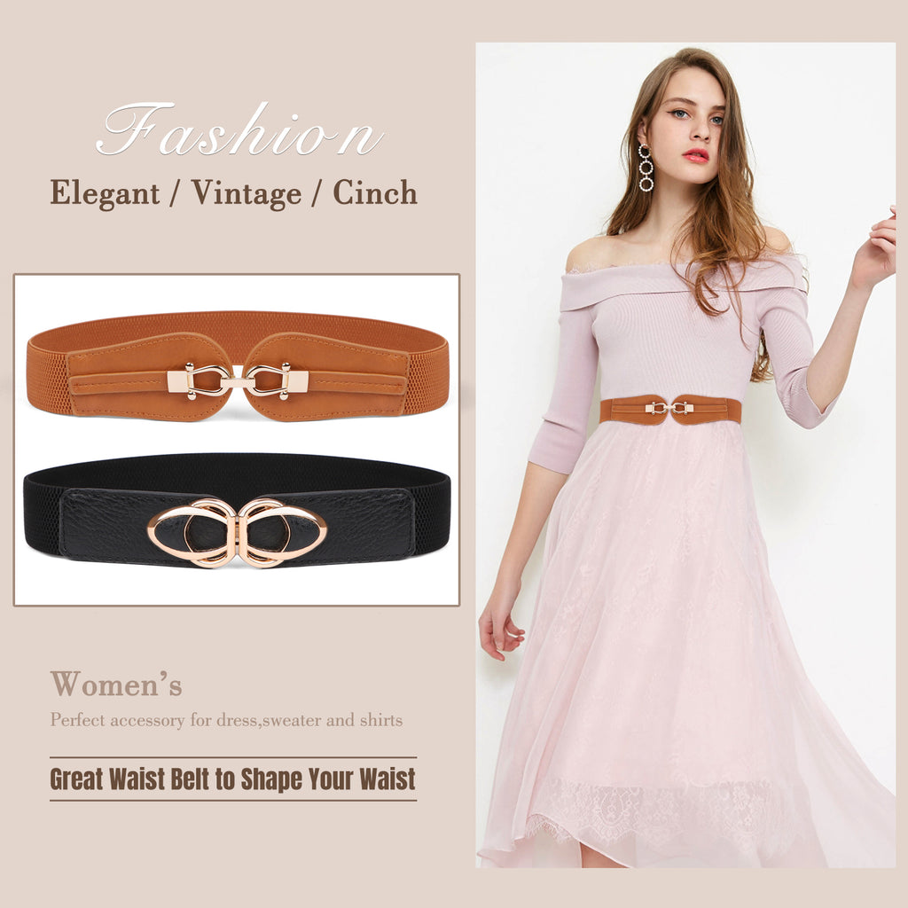 Women Stretchy Wide Waist Belt for Dress Ladies Elastic Cinch Retro Belt by JASGOOD