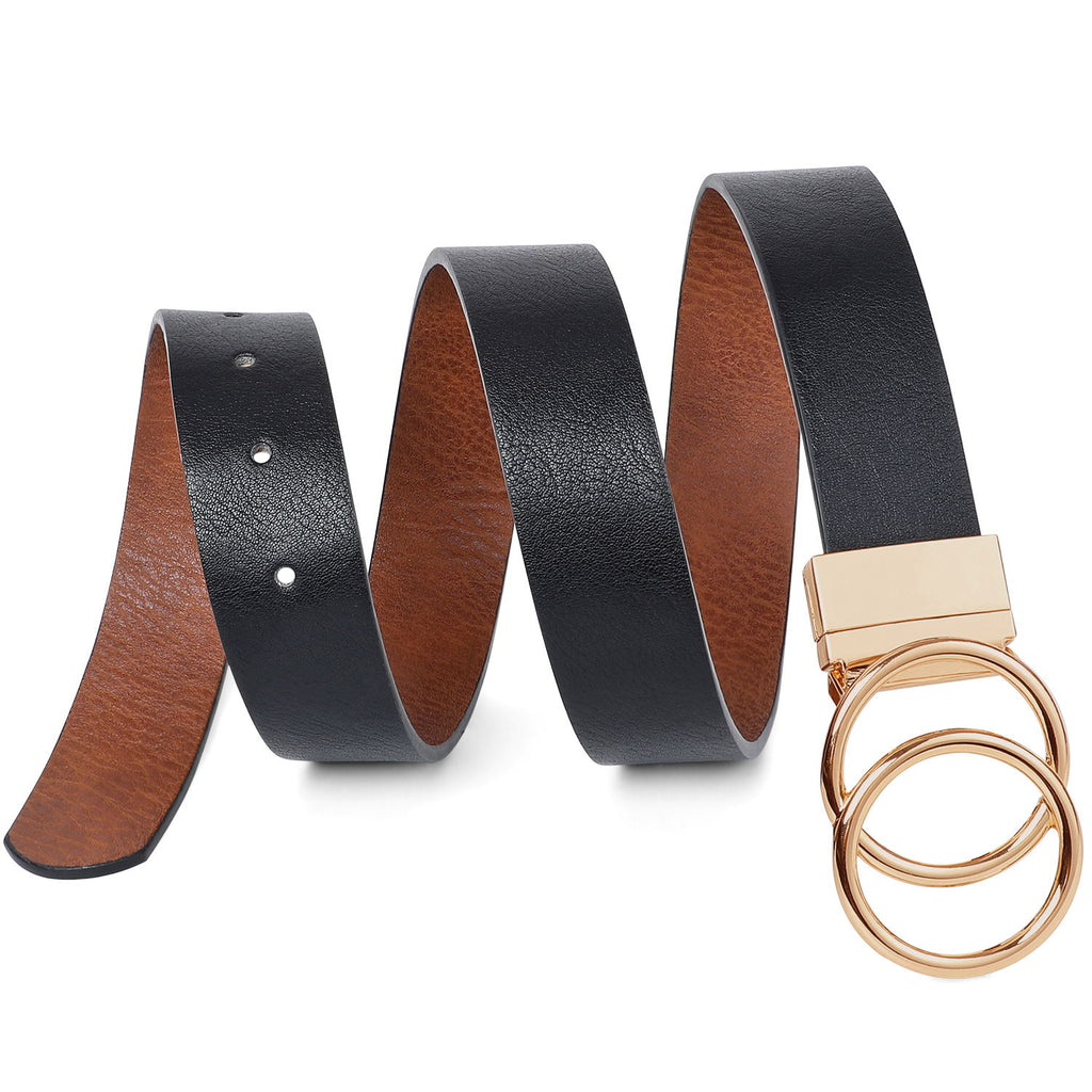 JASGOOD Women's belt with  golden double O-ring rotating buckle, reversible belt, jeans belt leather belt - JASGOOD-OFFICIAL