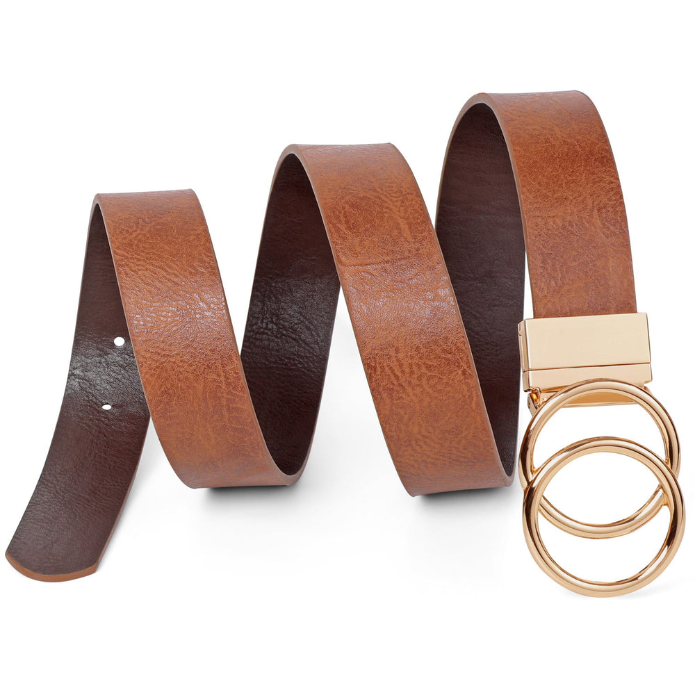 JASGOOD Women's belt with  golden double O-ring rotating buckle, reversible belt, jeans belt leather belt