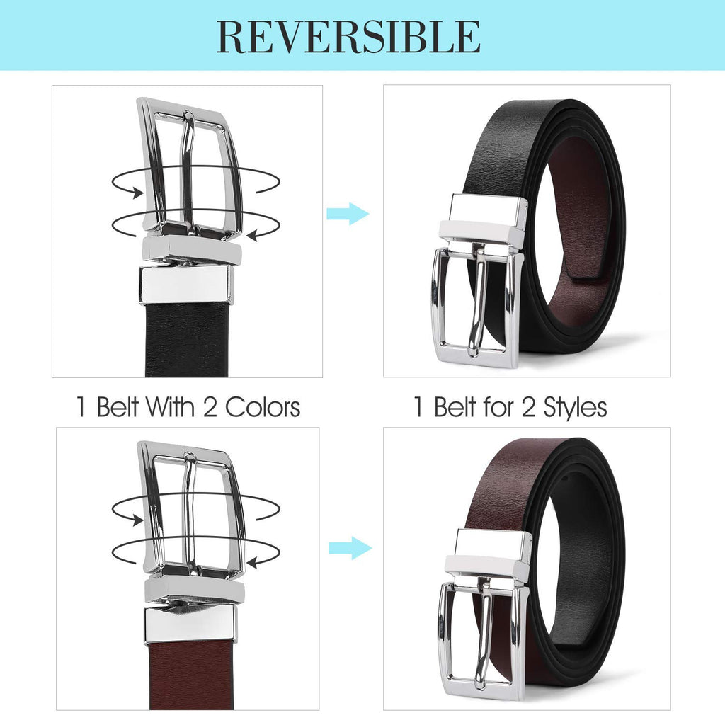 Women Leather Reversible Belt, Ladies Belt for Jeans with Rotated Buckle by JASGOOD - JASGOOD-OFFICIAL