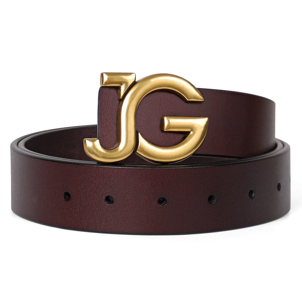 JASGOOD Women's Leather Belts Fashion Gold Buckle Belt for Jeans Dress Vintage Letter JG Plate Buckle Waist Belt