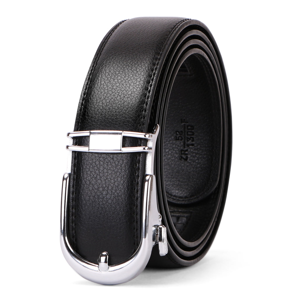 Ratchet Click Men's Belt,Leather Dress Holeless Belt for Men With Side Buckle up to 44 inches by JASGOOD
