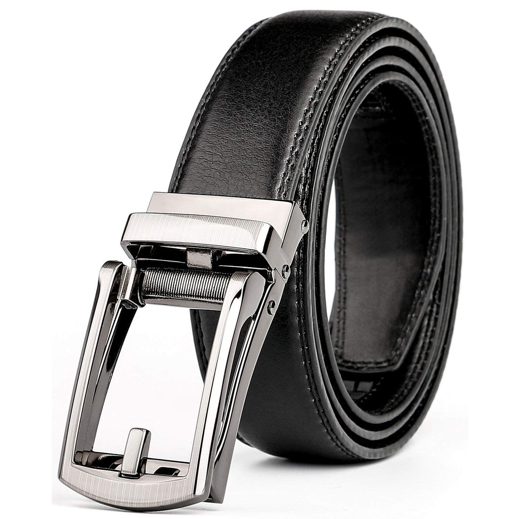 "Leather Ratchet Dress Belt for Men Perfect Fit Waist Size Up to 44"" with Automatic Buckle - JASGOOD OFFICIAL"