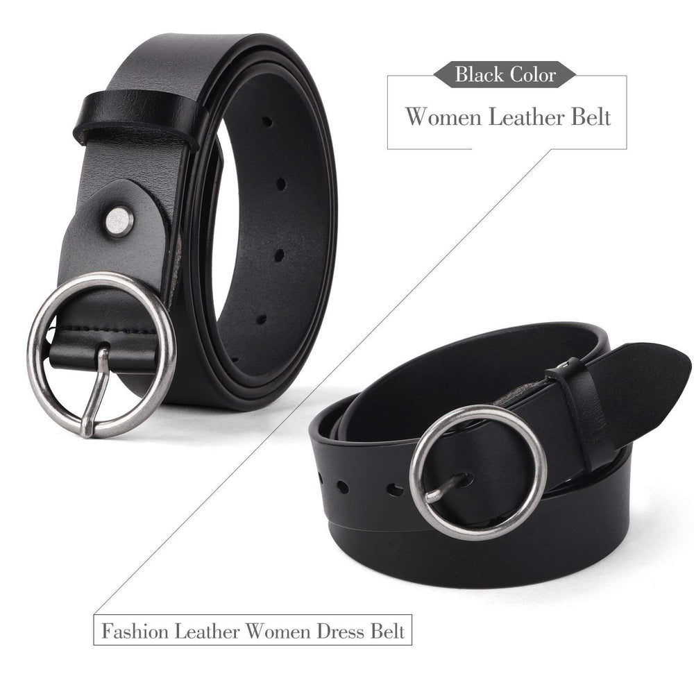 Women Casual Dress Belt Genuine Leather Belt with Round Buckle by JASGOOD - JASGOOD-OFFICIAL