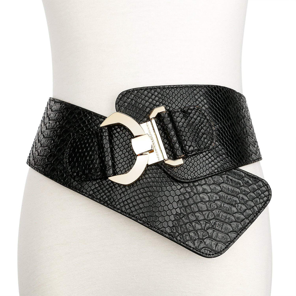 Women's Wide Elastic Stretch Adjustable Waist Belt Fashion Snake Pattern by JASGOOD