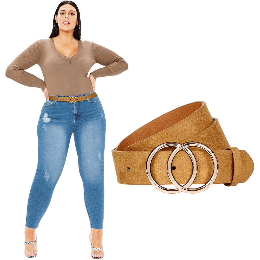 JASGOOD Plus Size Double O Ring Belt for Women Leather Belt,Ladies PU Leather Waist Belts for Jeans Pants