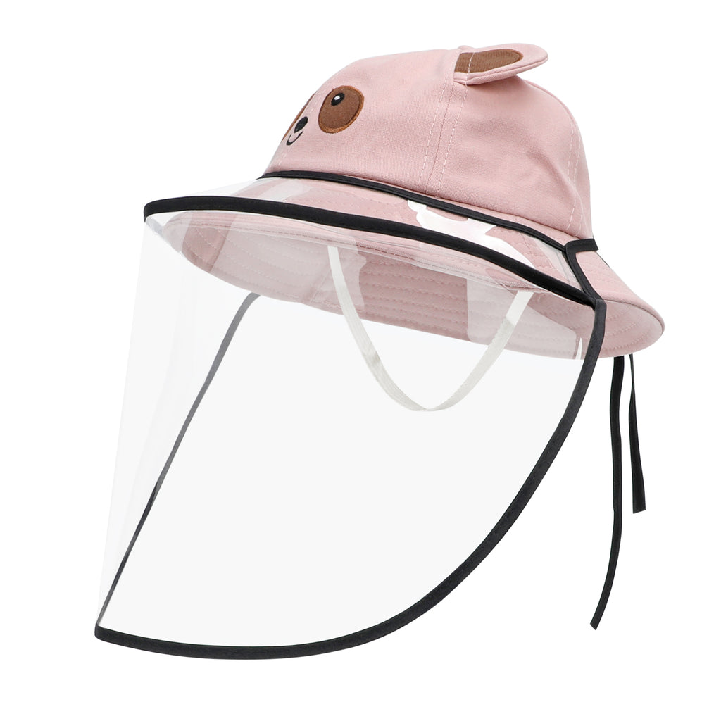 Boys Girls Protective Fishing Hats Cover Anti-Spitting Anti-Saliva UV Protection Hat Detachable