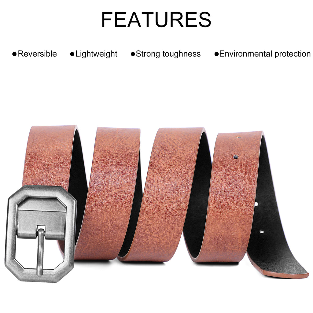 Reversible Women Leather Belt, WERFORU Reverse Lady Belt for Jeans with Rotated Buckle