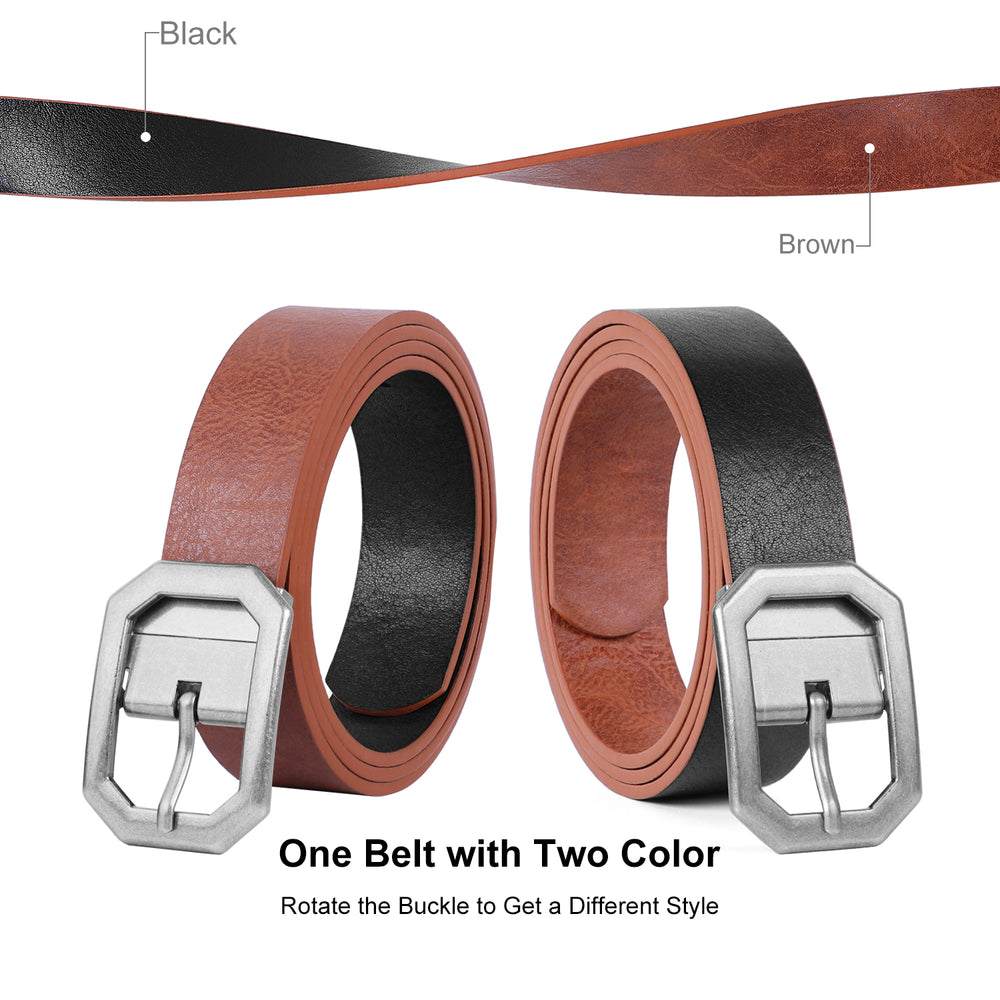 Reversible Women Leather Belt, WERFORU Reverse Lady Belt for Jeans with Rotated Buckle - JASGOOD-OFFICIAL