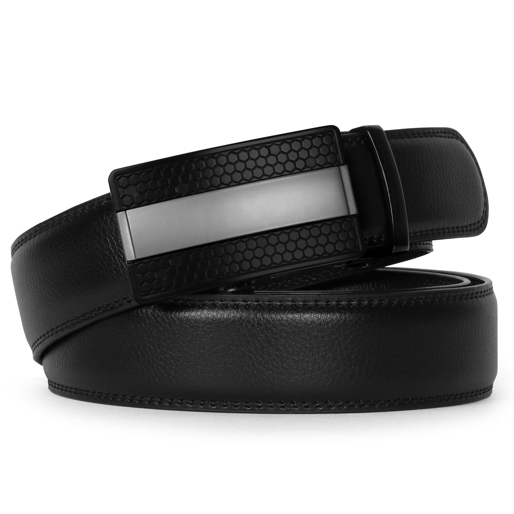 Men's Leather Ratchet Dress Belt with Automatic Buckle in Gift Box