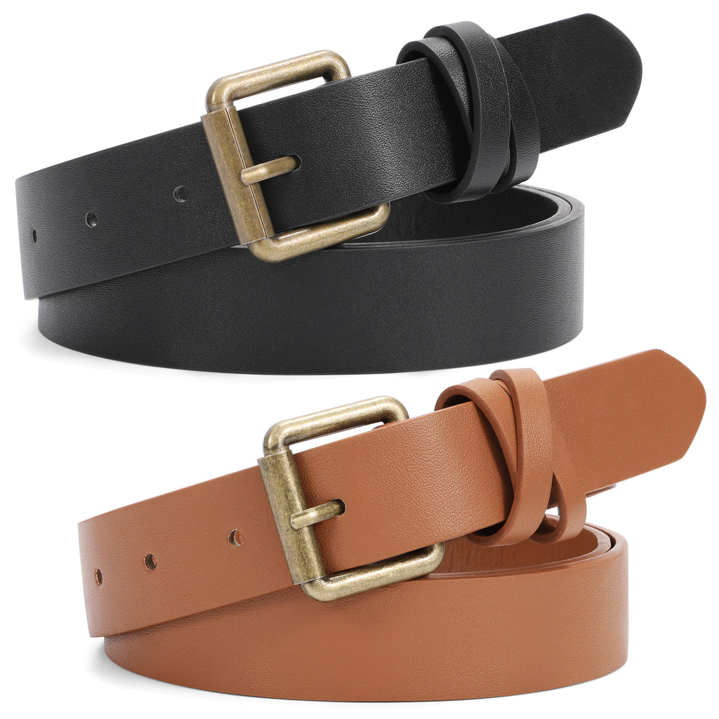 JASGOOD Women Leather Belt for Jeans Pants,Fashion PU leather Belt with Alloy Buckle