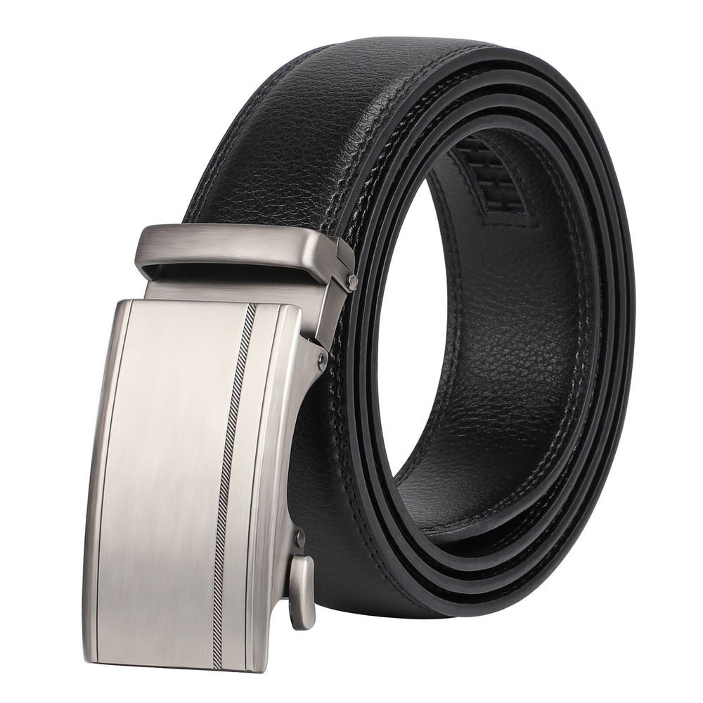 Men's Ratchet Leather Belt for Dress, Sliding Automatic Buckle Belt Fit Waist up to 50 Inch - JASGOOD-OFFICIAL