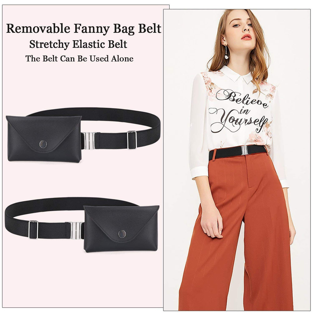 Womens Elastic Belt Fanny Pack With Removable Belt Tassel Waist Pouch Fashion Belt Bags by JASGOOD