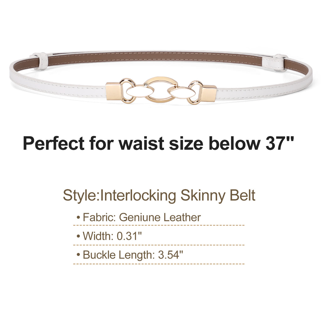 JASGOOD Women Skinny Leather Belt Adjustable Thin Waist Belt with Metal Buckle for Dress - JASGOOD-OFFICIAL